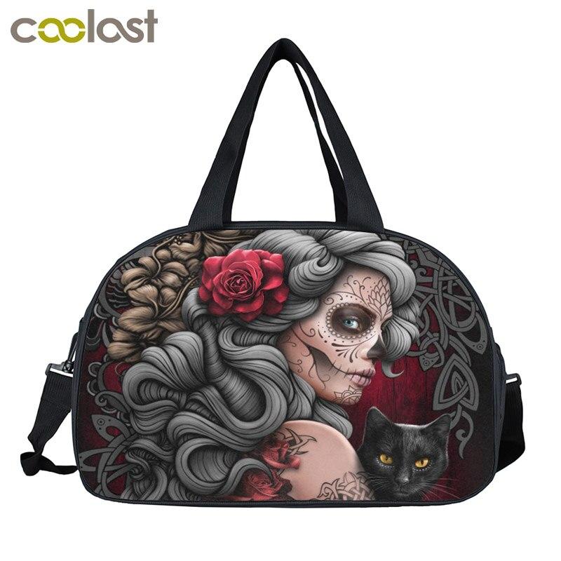 Dark Gothic Punk  Travel Bags Women Handbags Multifunctional Large Capacity Travel Duffle Bag Shoes Holder Lady Causal Tote