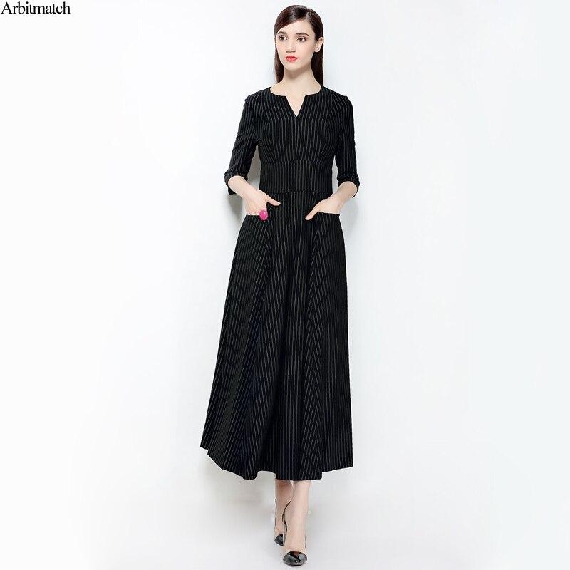 Arbitmatch Elegant Dress Women 2018 Black Stripe Noble 35% Natural Silk V Neck Summer Dress Fashion Designer Long A Line Dresses