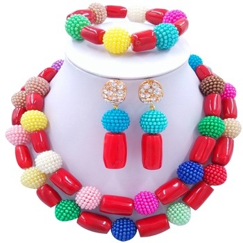 Best-selling Multicolor African Design Women and Girls Festival Crystal Jewelry Sets 2C-ZHSH-03