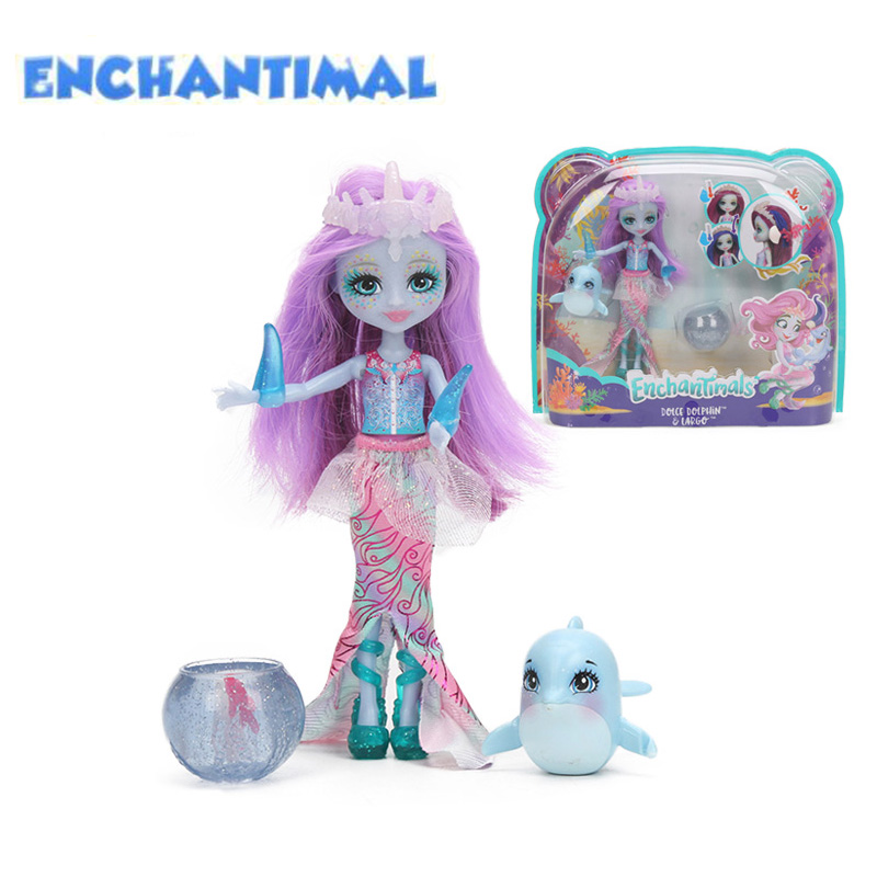 2018 Enchantimals Dolls Toys Dolce Dolphin Largq Jessa Jellyfish Marisa Clarita Clownfish Cackle Figure Set Model Fashion Doll kads bop015 018 clownfish
