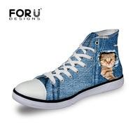 FORUDESIGNS Women Flats Blue Shoes 3D Printed Cute Cat Dog Woman Casual Canvas Platform Shoes Denim High Top Mujer Zapatillas