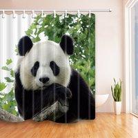 사랑스러운 팬더 녹색 잎 곰팡이 방지 폴리 에스테르 직물 샤워 커튼 세트 환상적인 장식 목욕 커튼