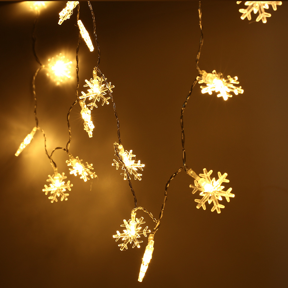 2 5m 20 Led Fairy Lights Battery Ed Warm White Christmas Outdoor Indoor Snowflake String Tree Home Decoration In From