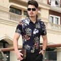 2016 мужской цветок 100% хлопок двойной мерсеризованный хлопок Цветочные рубашки повседневные с коротким рукавом легкий уход рубашка Пляж Стиль