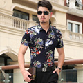 2016 flor masculina 100% algodão dupla mercerizado algodão Floral camisas casual-manga curta camisa cuidado fácil Estilo Praia
