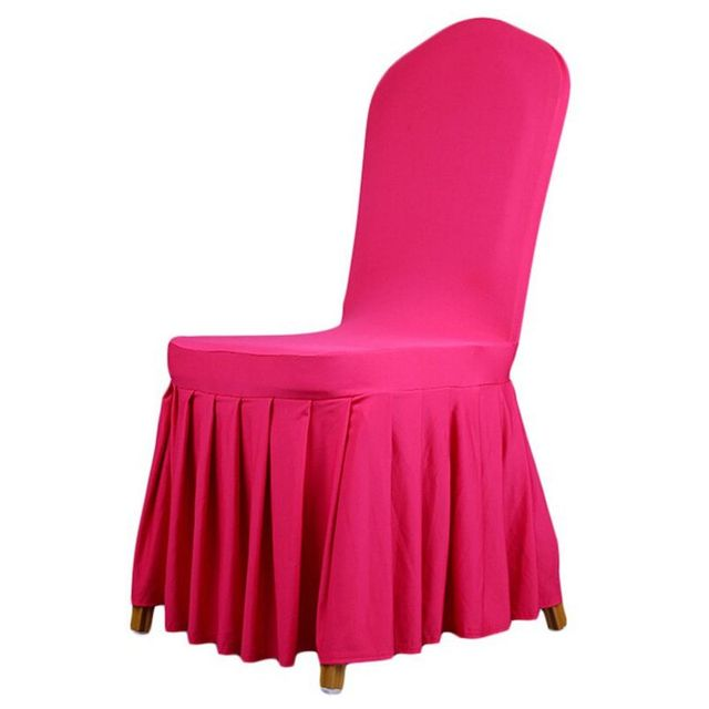Beau Practical Spandex Stretchy Wedding Party Chair Covers Pleated Banquet  Dining Chair Seats Covers Rose Red