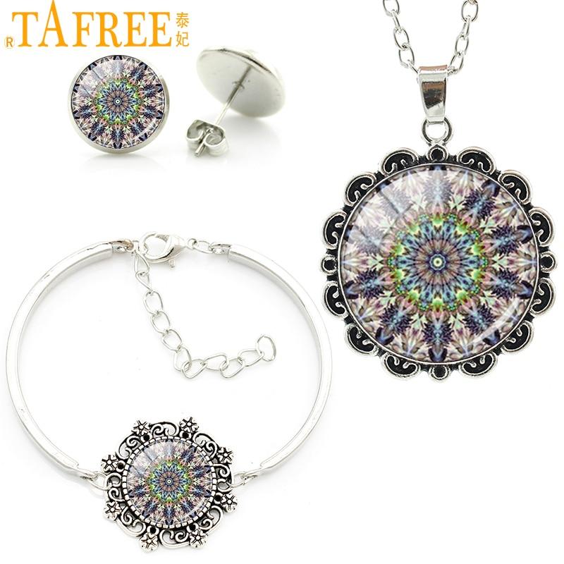 TAFREE Vintage indian mandala zen flower choker necklace earrings bracelet set 2016 fashion women charms jewelry sets HT003