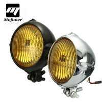 Chrom Schwarz Motorrad 4 zoll Gelb Licht Lampe Scheinwerfer Für Harley Bobber Chopper