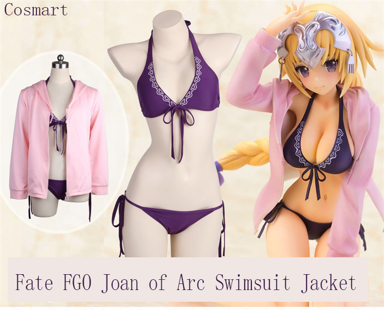 [STOCK]Game Anime Fate Grand Order FGO Joan of Arc Swimsuit Hoodie Jacket Daily Purple Bikini Cosplay costume New 2018 free ship