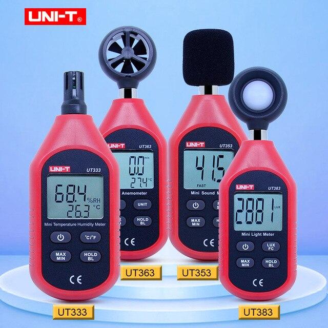 UNI T Mini Light Meter Digitale Luxmeter UT333 UT353 UT363 UT383 Digitale Thermometer Hygrometer Sound Level Meter Anemometer