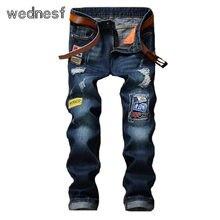 #1939 Темно-синий Прямо Тощий Байкер одежда Мужчины байкер джинсы Классический Известная марка Рваные джинсы для мужчин Бегун Брюки homme