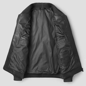 Image 4 - Luxury Sheepskin Down Jackets Man Warm Genuine Leather Bomber Jacket Mens Long Sleeve Winter Real Leather Stand Aviation Coats