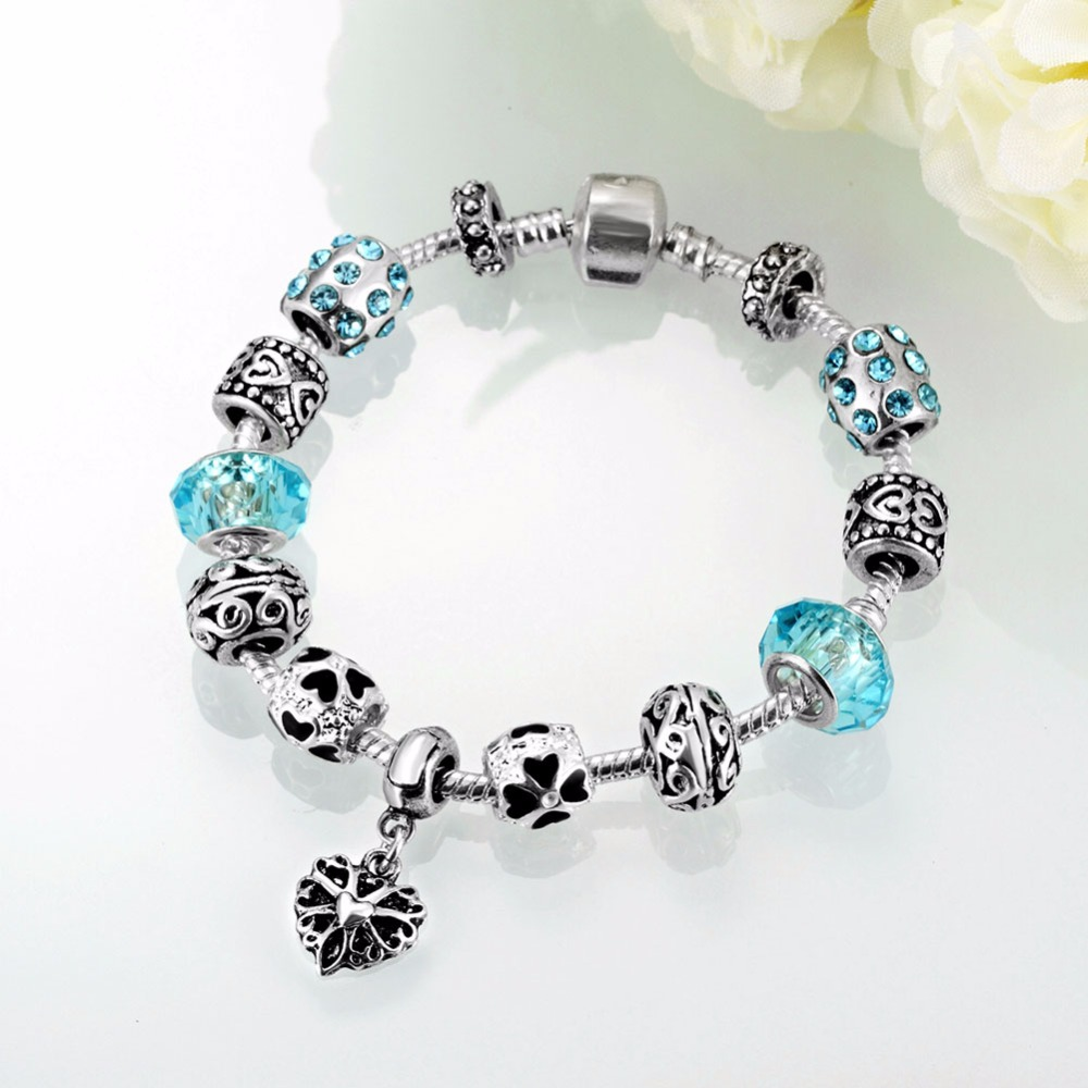 HERMOSA jewelry New blue Fashion beautiful Elegant and lovely Bead DIY Removable plating silver woman Bracelet 20cm PDRH033