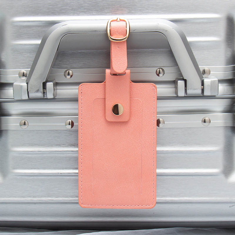 Pink Snap Flap Colorful Belts Fashion PU Leather Luggage Tags Baggage Name Tags Suitcase Address Label Holder Travel Accessories