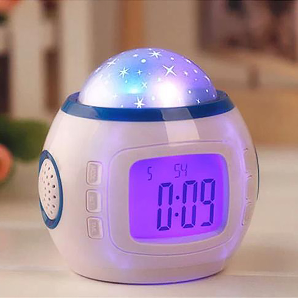 Music LED Star Sky Projection Lamp Digital Alarm Clock Calendar Thermometer Kids Christmas Gift