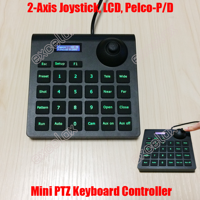 Mini 2D Joystick CCTV Keyboard Controller High Speed Dome Camera Pan Tilt Zoom PTZ Control Keypad