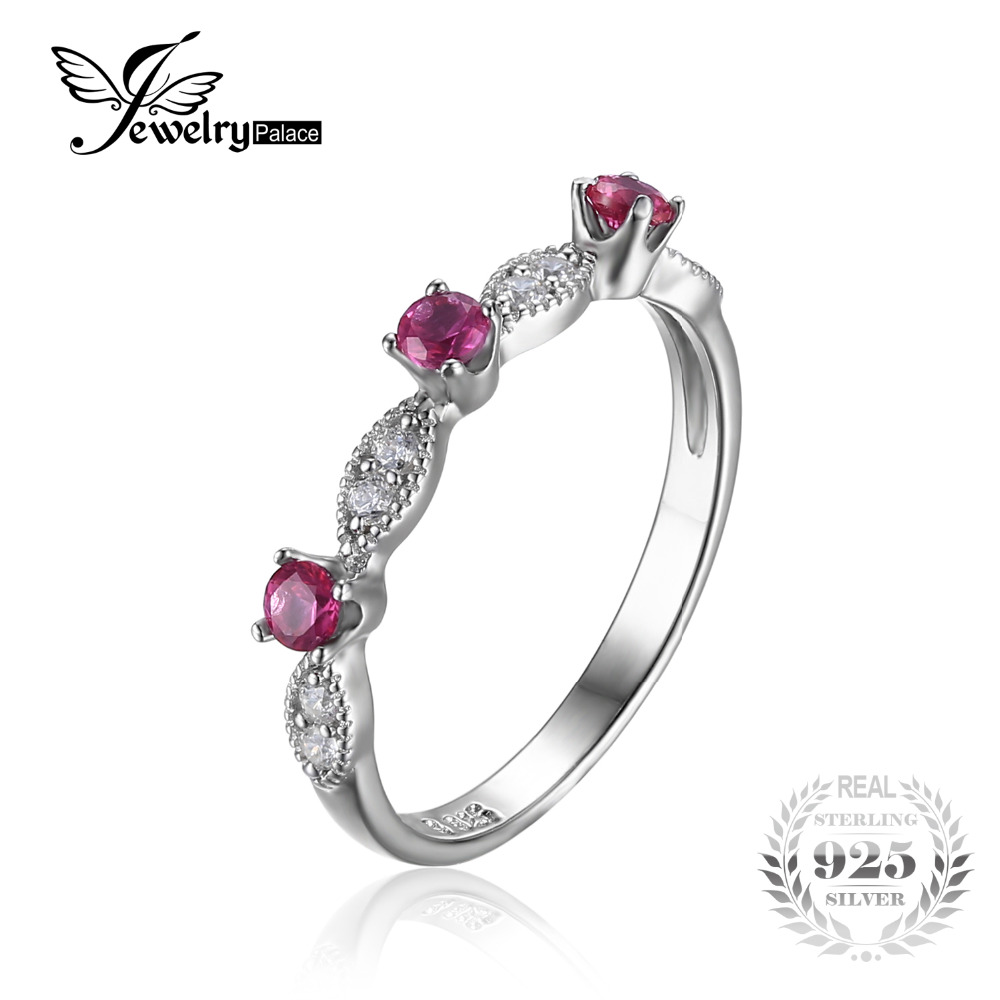 jewelrypalace 3 stone round 045ct created ruby engagement wedding rings for women 925 sterling silver 2017 fashion fine jewelry - Stone Wedding Rings