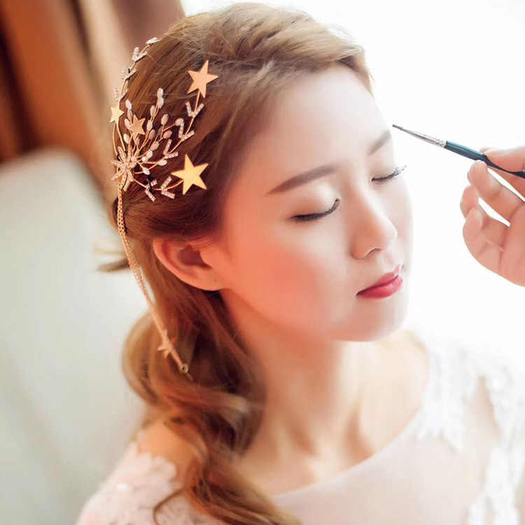 Le Liin One Pair Gold Star Hair Clip with Dangling Star Wedding Hair Accessories Bride Hair Jewelry Bridal Headdress