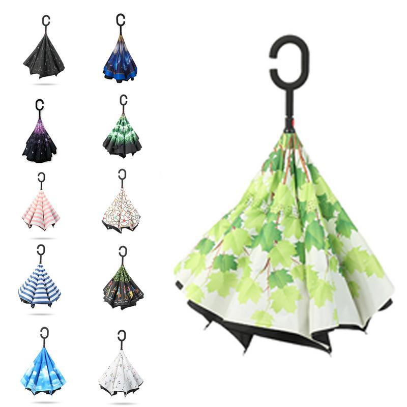 Filles parapluies pliant parapluie inversé parapluie pour voiture hommes femmes Double inversé résistant aux intempéries petit frais 50RR082