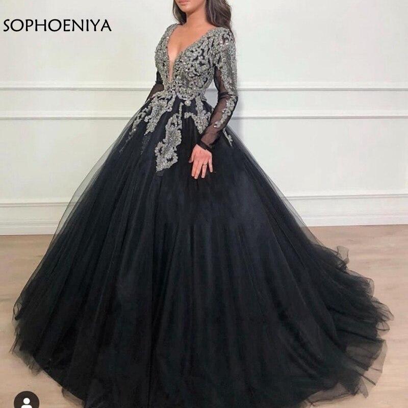 Image 3 - Черное мусульманское вечернее платье с треугольным вырезом, 2020, бальное платье с длинным рукавом и бусинами, вечернее платье, платье для выпускного бала в ДубаеВечерние платья    АлиЭкспресс