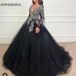 Image 3 - فستان سهرة إسلامي أسود برقبة V جديد 2020 يد كاملة مطرز بالخرز فستان سهرة دبي قفطان للحفلات الراقصة