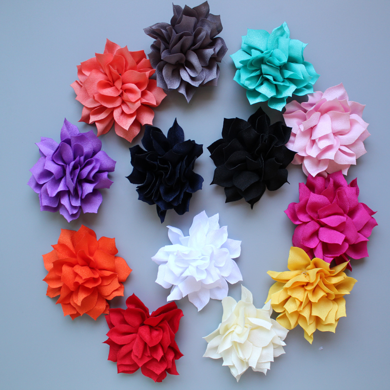 "60pcs Wholesale 3"" sharp corner Fabric lotus Flower for kids girls dressFor Headbands free shipping"