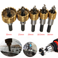 5Pcs Carbide Tip HSS Drill Bit Hole Saw Set Metal Wood Drilling Hole Cut Tool For