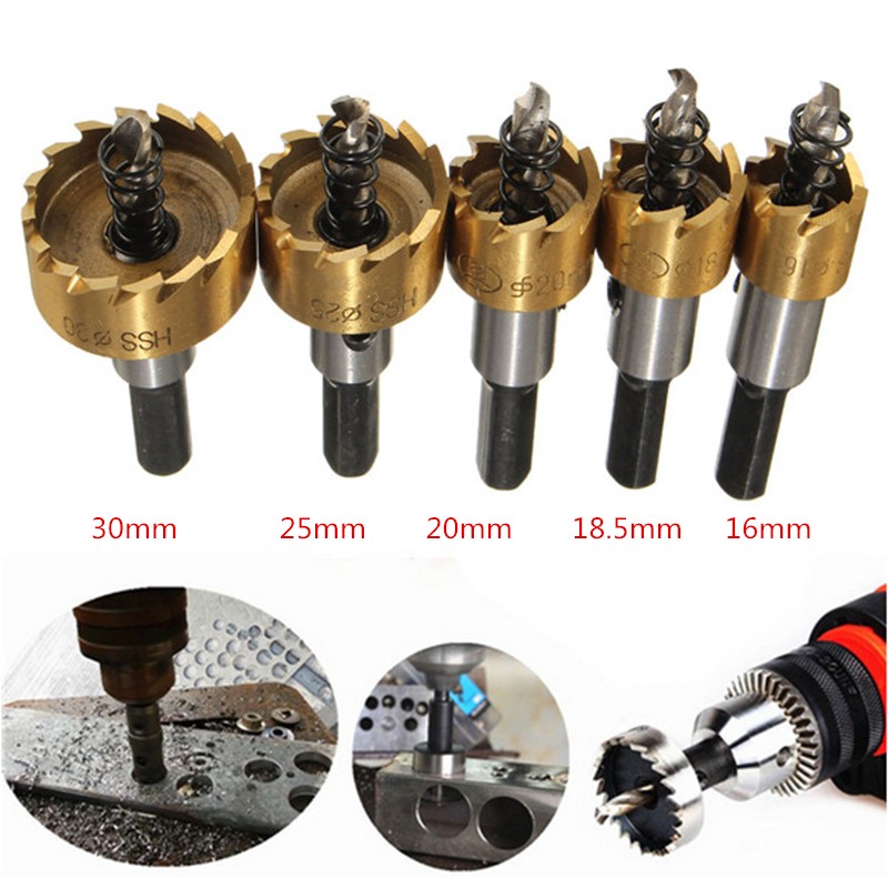 5Pcs Carbide Tip HSS Drill Bit Hole Saw Set Metal Wood Drilling Hole Cut Tool for Installing 16/18.5/20/25/30mm Woodworking Tool 3pcs 75mm 2 953in bi metal hole saw power tool metal drilling wood hole saw wood tool woodworking buy 2 more favorable