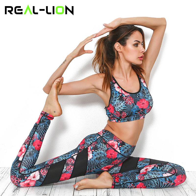 Reallion Floral Print Sport Suit Women Tracksuit Yoga Set Mesh Stitching Runing Set Sports Bra Leggings Gym Suit Sportswear 2018
