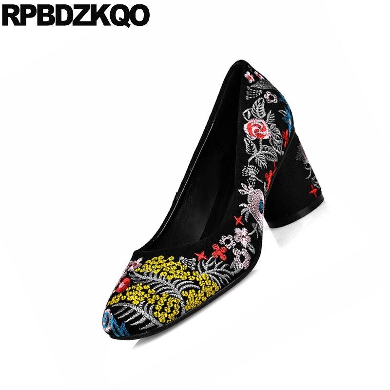 Plus Brodé À La Fleur Folk Dames Haute 10 Taille Catwalk 43 Ronde Pompes 42 Broderie Bout Noir Chaussures 11 Main Bloc Talons Daim 0xYnnf5