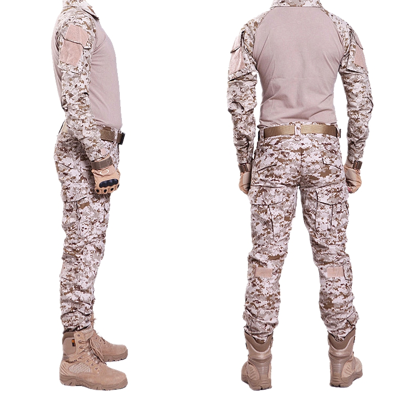 Military Uniform Multicam Combat Shirt & Pants Combat Uniform W/ Knee&Elbow Pads Camouflage Hunting Clothes Ghillie Suit Train 7pcs xiaomi skating cycling helmet knee pads elbow wrist brace set
