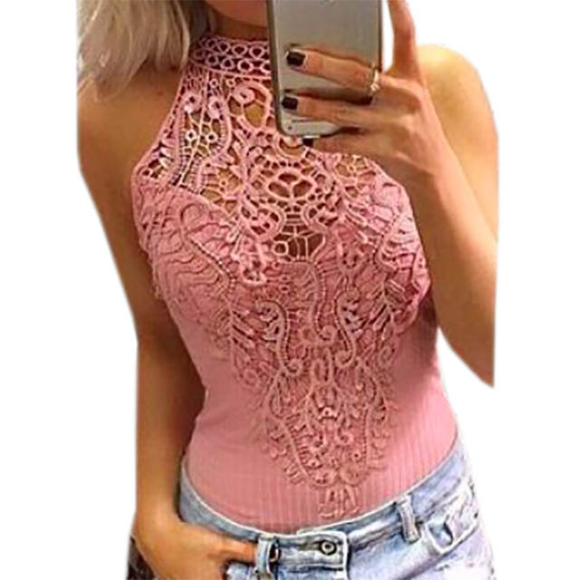 c69916b8a82 Online Shop Cut Out Lace Bodysuit Solid Overalls Sleeveless O-neck Women  Jumpsuit Sexy Bodysuits Fashion Body Top Summer Bodycon GV777