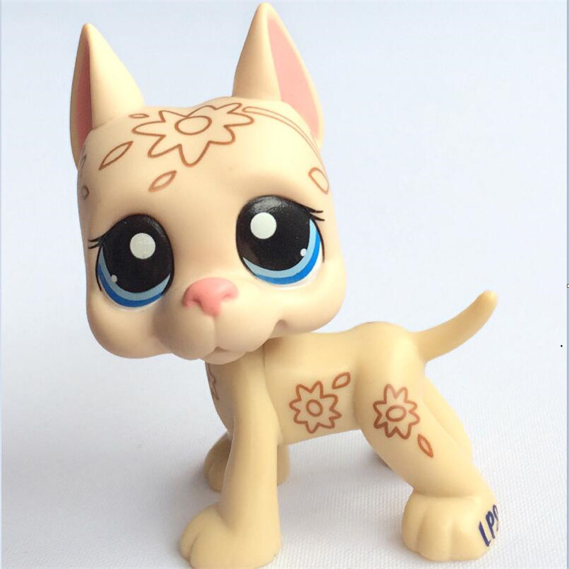 MOANA- Pet Shop Toys Dog #817 Brown Great Dane With Star Eyes Kids Toys pet great dane pet toys rare old styles dog lovely animal pets toys lot free shipping