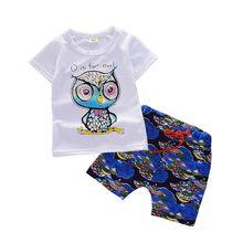 5fab39a62 Moda Infantil Conjuntos de Roupas de Algodão Do Bebê Das Meninas Dos Meninos  Dos Desenhos Animados Calças T-shirt 2 pçs set Verã.