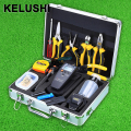 KELUSHI 30pcs/set Fiber Optic FTTH Tool Kit with SKL-6C Cleaver and APM-820 Optical Power Meter 10mW Visual Fault Locator pliers