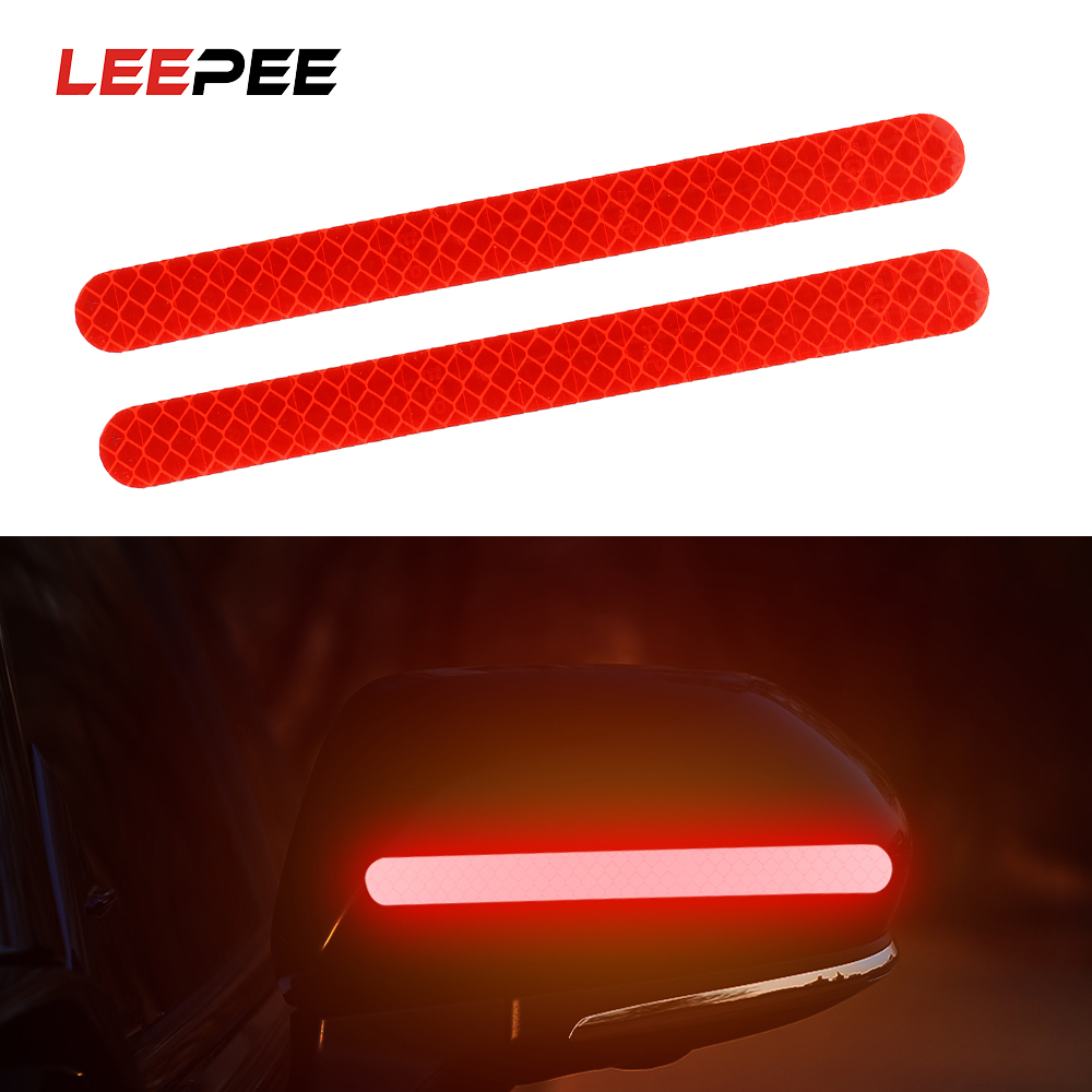 LEEPEE 2PCS Car Sticker Rearview Mirror Reflective Stickers Safety Warning Mark Car Reflective Strip Anti-collision Car-styling