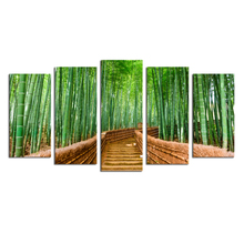 Bamboo Path Canvas Prints Contemporary Art Modern Wall Decor 5 Panel Wood Mounted Wall Art Frameless Artwork for Living Room