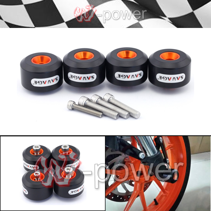 fite For KTM RC 125 200 390 DUKE Motorcycle Accessories Front and Rear Fork Wheel Protector Crash Sliders Cap Pad for ktm logo 125 200 390 690 duke rc 200 390 motorcycle accessories cnc engine oil filter cover cap