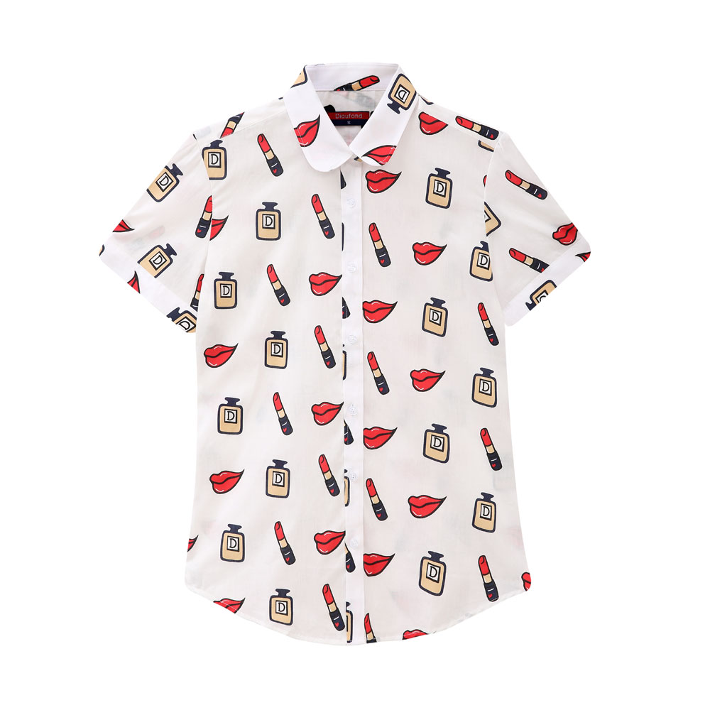 Online Store 832586 Dioufond 2017 New Womens Casual Short Sleeve Blouse Turn Down Collar Shirts Summer Cotton Printed Blusas Plus size Ladies Tops