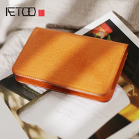 AETOO Female chic retro travel leather ticket Passport wallet, handmade cowhide male multifunctional leather protective sleeve
