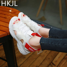 HKJL 2019 summer new sports and leisure sandal female flat bottom go with muffin fish mouth student A100