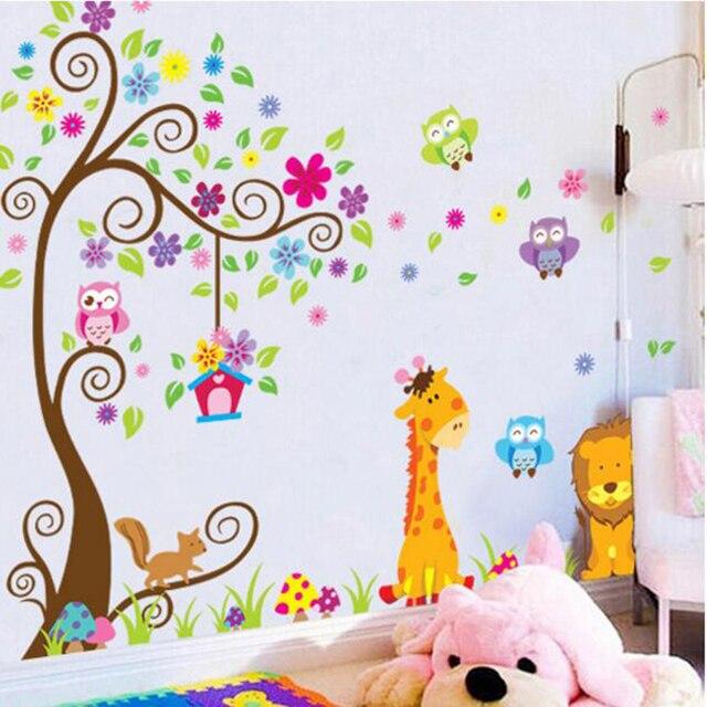 Милые Водонепроницаемый Лев и Жираф Pattern Наклейки для Детей, Животных Печати Наклейки Лучший Рождественский Подарок