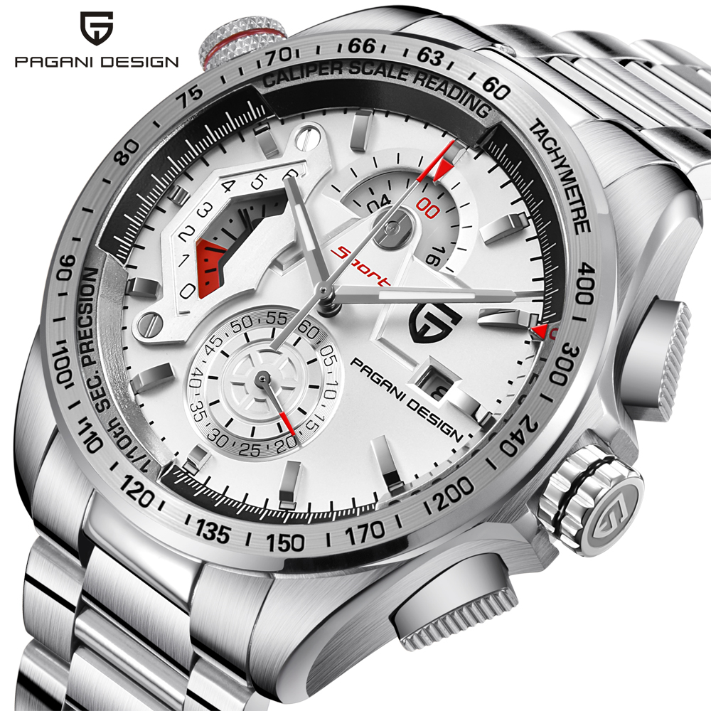 PAGANI DESIGN Chronograph Sport Watches Men Luxury Brand Quartz Watch Full Stainless Steel Dive 30M relogio masculino white skmei 9069 men quartz watch men full steel wristwatches dive 30m fashion sport watch relogio masculino 2016 luxury brand watches