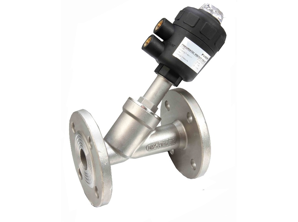 1 1/4 inch 2/2 Way single acting pneumatic angle seat valve normally closed 63mm actuator with flange ends free shipping bspt 1 2 normally closed