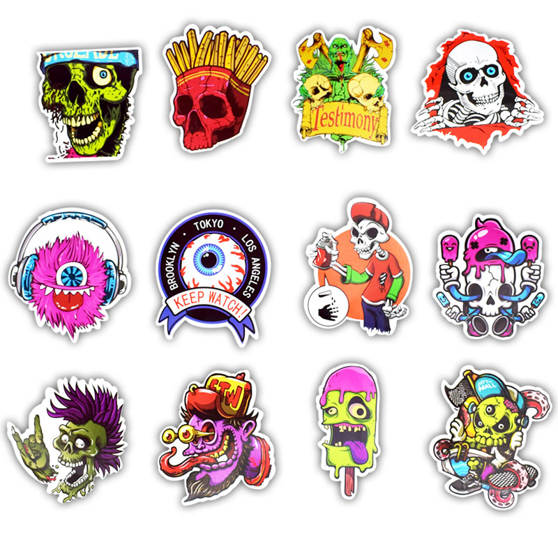Image 3 - 50Pcs Mixed Cool Skull Vinyl Computer Stickers Spoof Horror Waterproof Sticker For Laptop Suitcase Car Phone Decoration  Decals-in Laptop Skins from Computer & Office