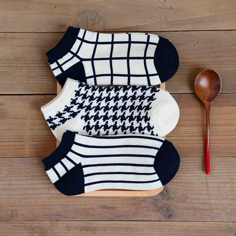 1 pares de calcetines a cuadros de algodón blanco y negro pata de - Ropa de mujer