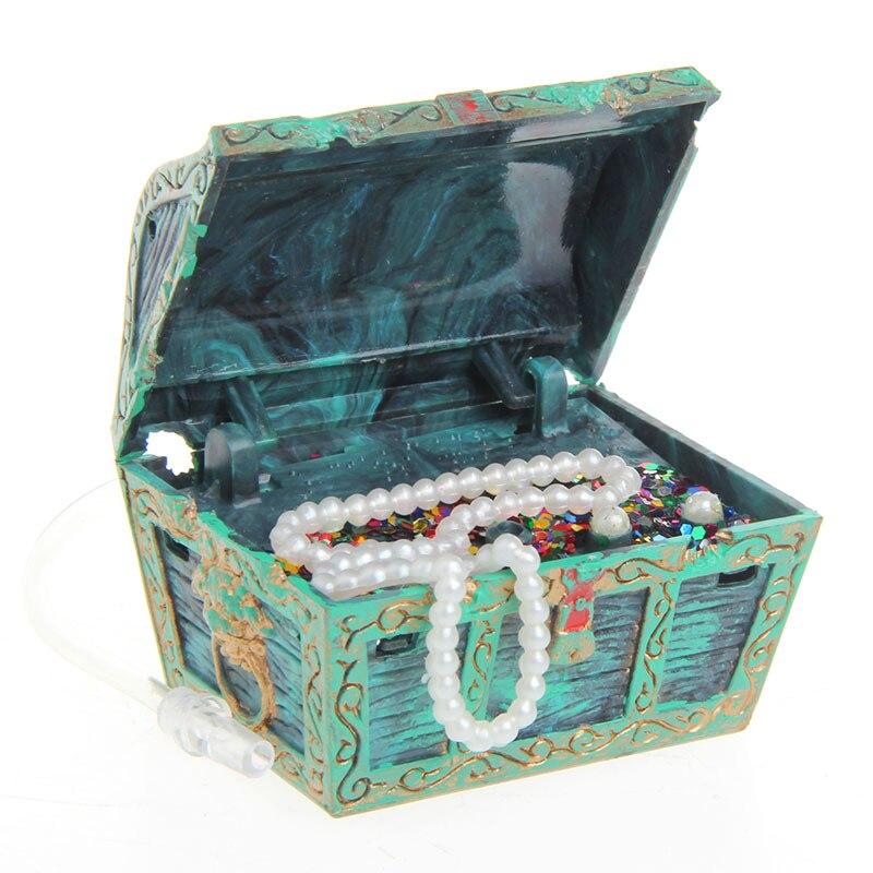 Treasure Chest Shaped Aquarium Air Action Ornament Fish Tank Aquascaping Decor  Z07 Drop Shipping