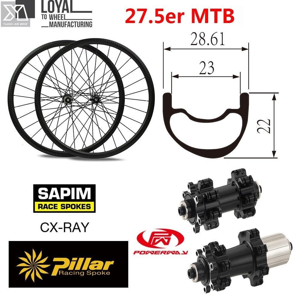 650B 27.5er MTB del Carbonio Della Bici Del Wheelset 28mm Larghezza 22.61mm di Profondità Cinese XC Mountain Bike Ruote con Mozzo Powerway M42 hub
