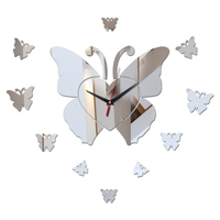 New fashion butterfly-shaped dial decor wall watches mirror acrylic diy wall clocks butterfly decor living room wall watch