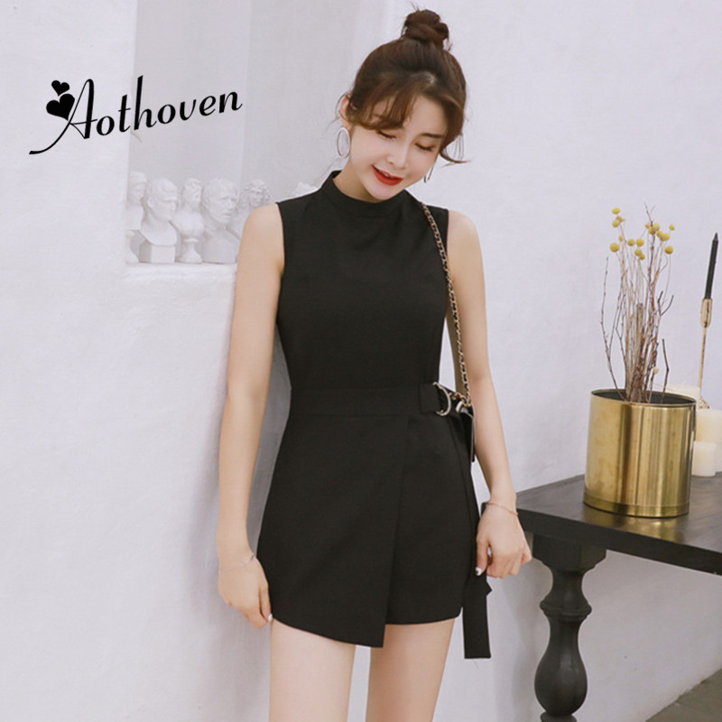 Summer Office Shorts Playsuit Women Black Sleeveless O-Neck Casual Jumpsuit Vintage Elegant Lady Bodysuit Catsuit Overall